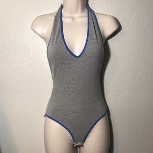 Glamorous gray blue trim halter bodysuit